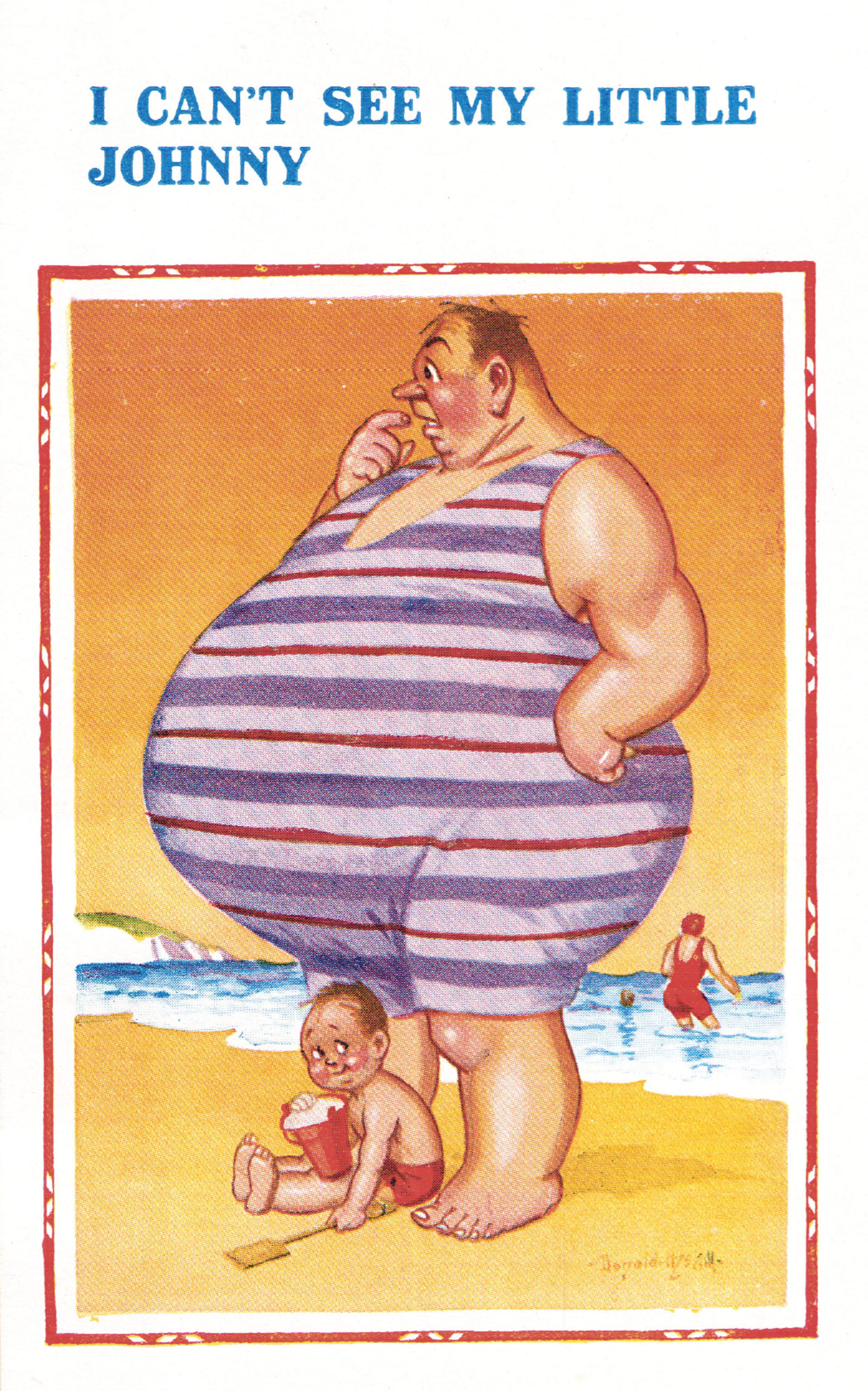 'I Can't See My Little Johnny' - Humorous saucy seaside postcard design by Donald McGill (1875-1962) © The Donald McGill Archive Collection / Mary Evans Picture Library