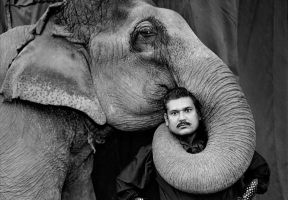 Ram Prakash Singh with his Elephant, Shyama, Great Golden Circus. Ahmedabad, India, 1990. Courtesy Steidl