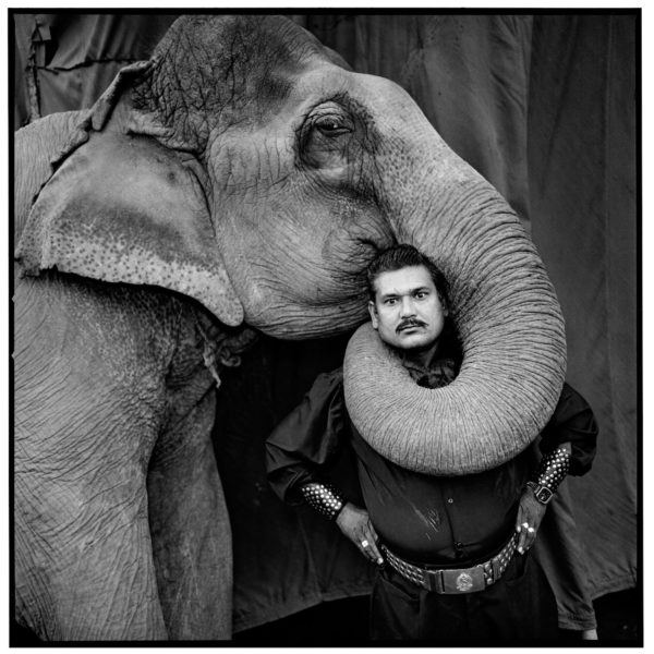 Ram Prakash Singh with his Elephant, Shyama, Great Golden Circus. Ahmedabad, India, 1990. Courtesy Steidl